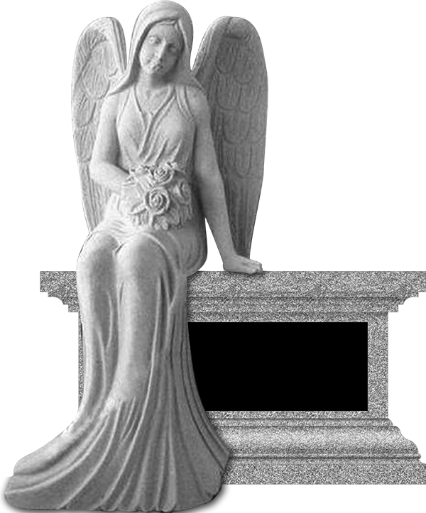 Angel sitting with flowers fewell monument for Fewell custom homes